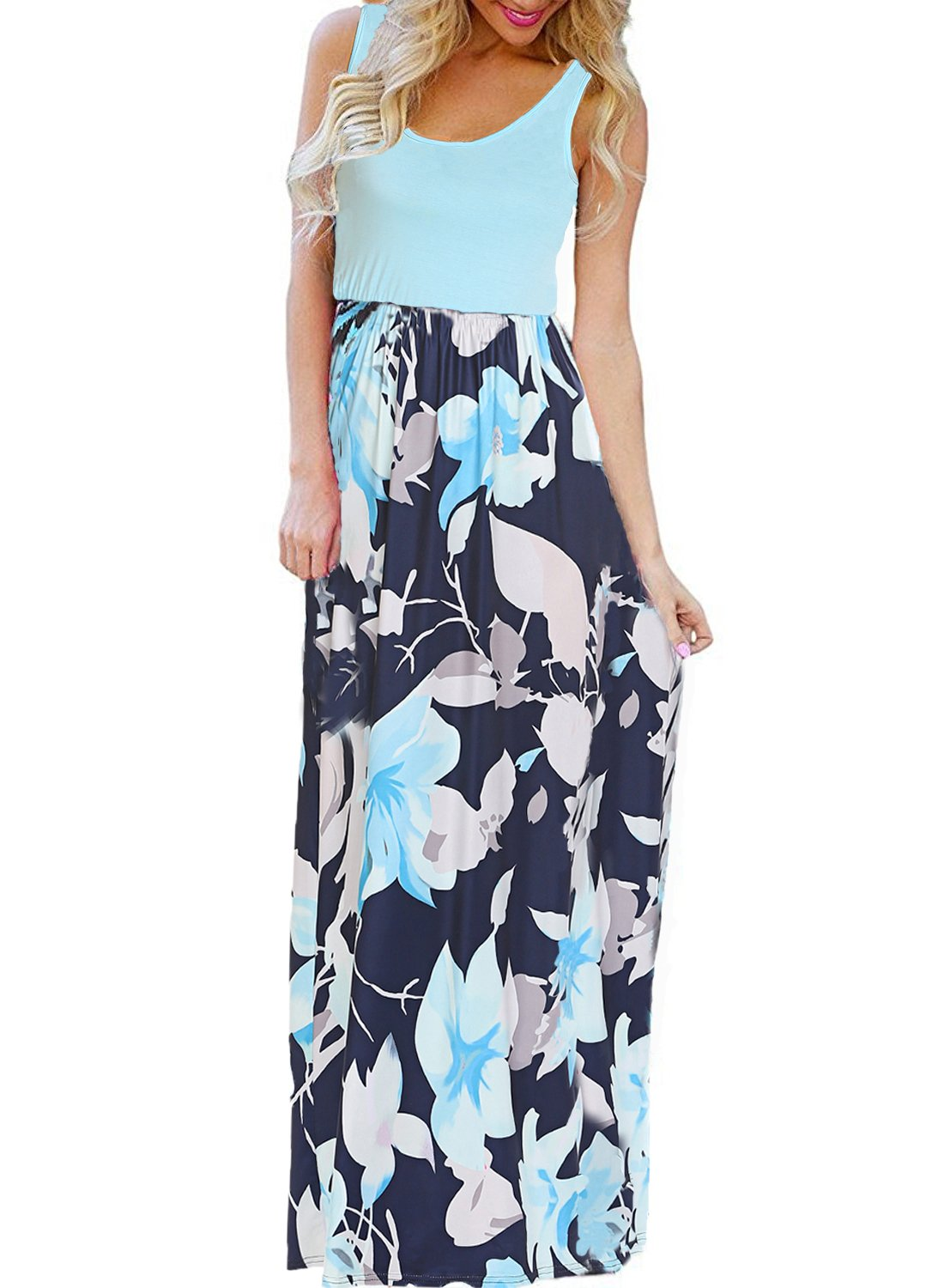BLUETIME Women's Summer Floral Long Boho Dress Sleeveless Color Block Maxi Pleated Dress (Green, L)