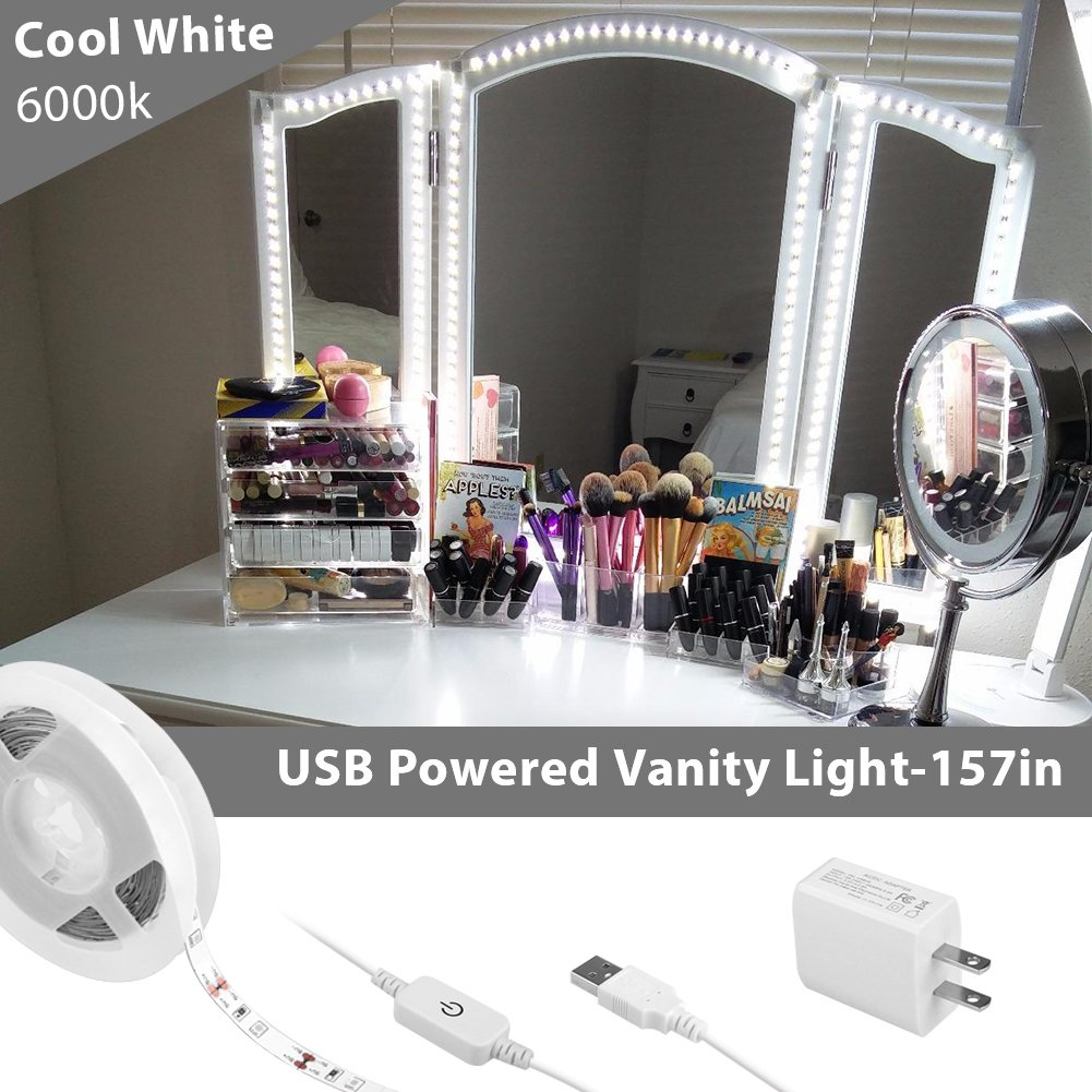 Megulla USB Powered Vanity Mirror Lights, Flexible LED Strip Light with ON/OFF Switch and Dimmer for Makeup Dressing Tables and Bathroom Mirrors -Cool White, 6000k (157in/4m)