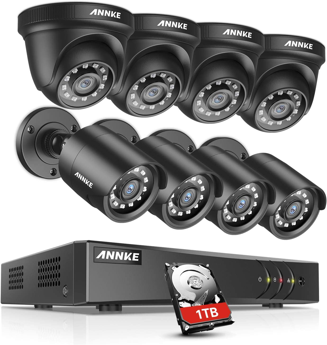 ANNKE 8CH Security System 5MP Lite DVR Recorder with 1TB HDD and (8) 1080P Weatherproof Camera with Super Night Vision, QR Code Scan, Plug & Play, HDMI Output-Y200
