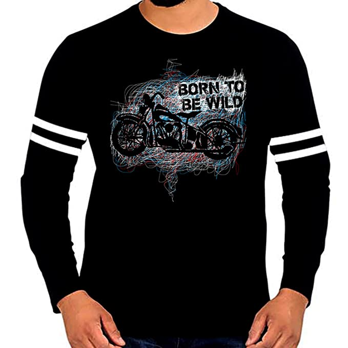 e054e681 WTFUNK Men's Black Stripped Full Sleeve Motorcycle Riding Bike Tshirt -  Graphic Print (XX-