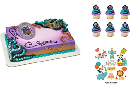 Disney Descendants 2 Rock This Style Cake Decorating Set PLUS 12 Matching Cupcake Rings Birthday Party