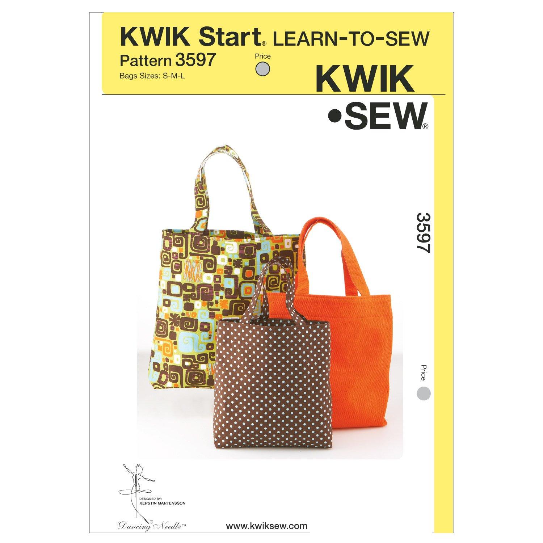 Kwik Sew K3597 Bags Sewing Pattern, Size S-M-L McCall Pattern Company K3597OSZ