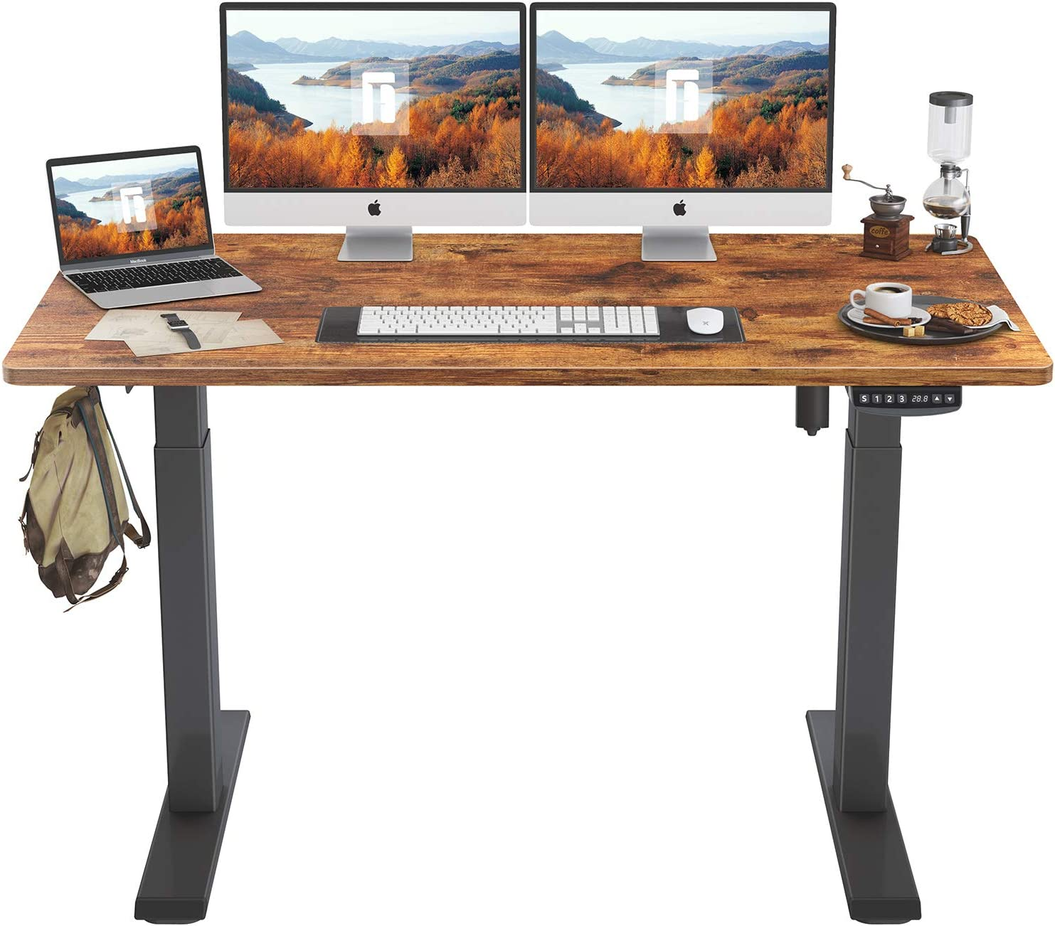 FEZIBO Height Adjustable Electric Standing Desk, 55 x 24 Inches Stand Up Table, Sit Stand Home Office Desk with Splice Board, Black Frame/Rustic Brown Top