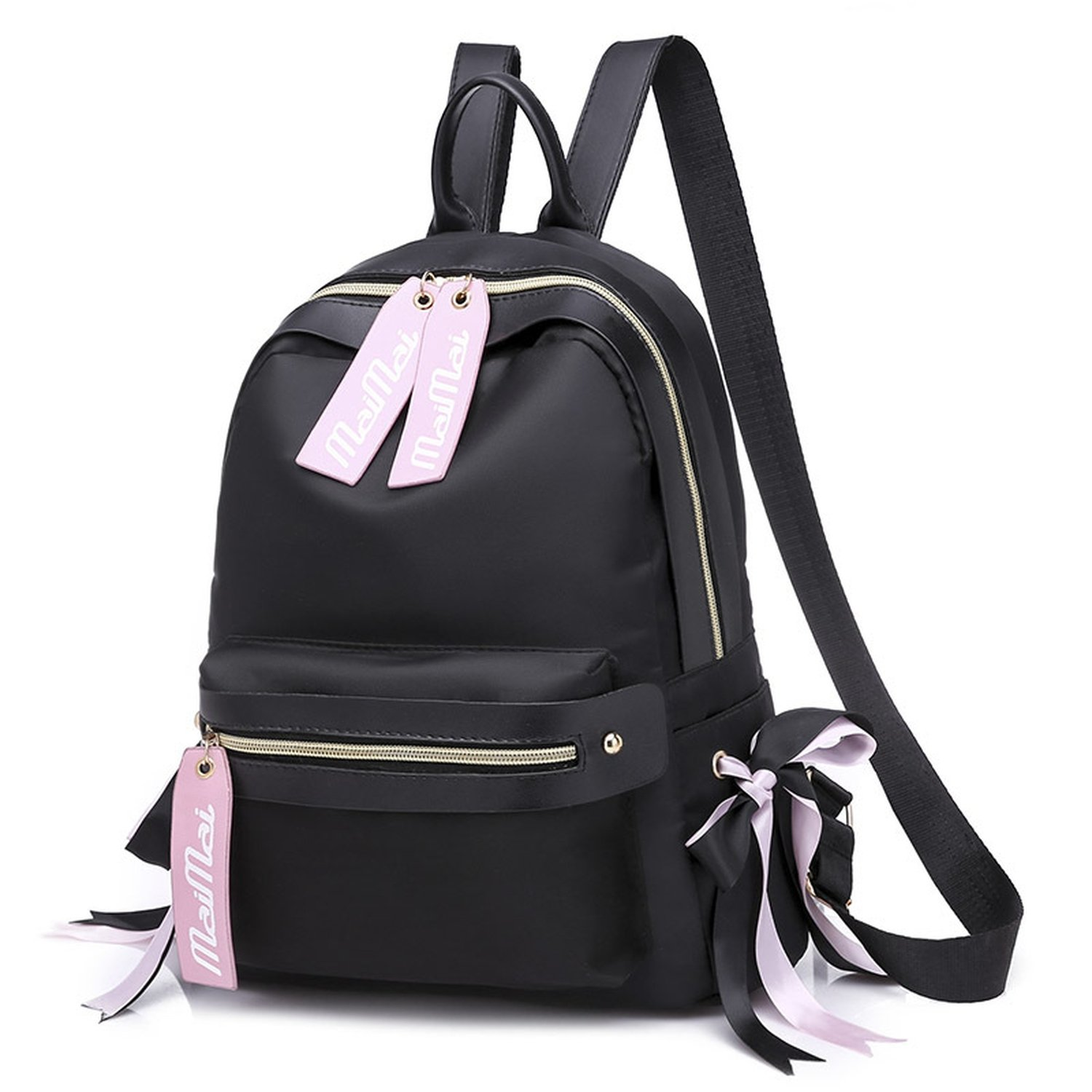 backpack femaleOxford cloth backpack fashion ribbon wild backpack,black
