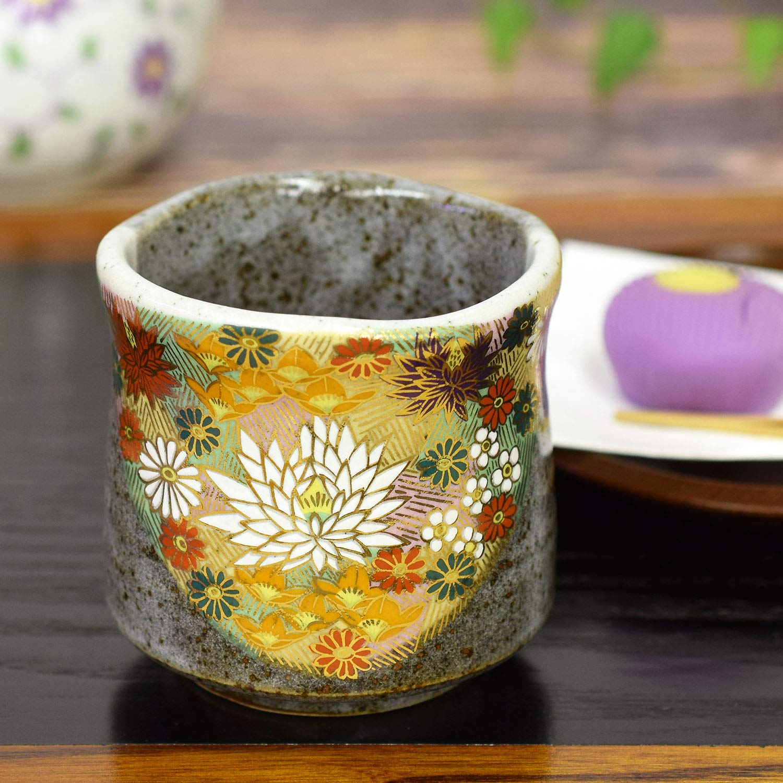 Japanese Yunomi Tea Cup Gold Flower KUTANI YAKI(ware)