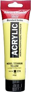 Royal Talens Amsterdam Standard Series Acrylic Color, 120ml Tube, Nickel Titanium Yellow (17092742)