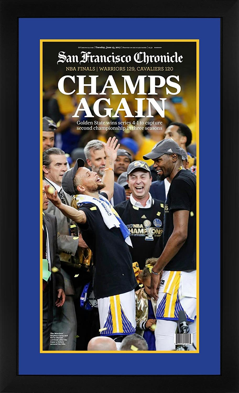 Golden State Warriors 2017 Nba Champions Chronicle Basketball Framed Newspaper Stephen Curry At Amazon S Sports Collectibles Store