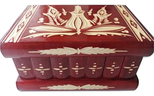 Nuevo gran caja puzzle de color rojo rompecabezas de madera, caja secreta, caja mágica, la caja de almacenaje de la joyería, caja de madera, caja tallada, regalo para la hija hermana: Amazon.es: