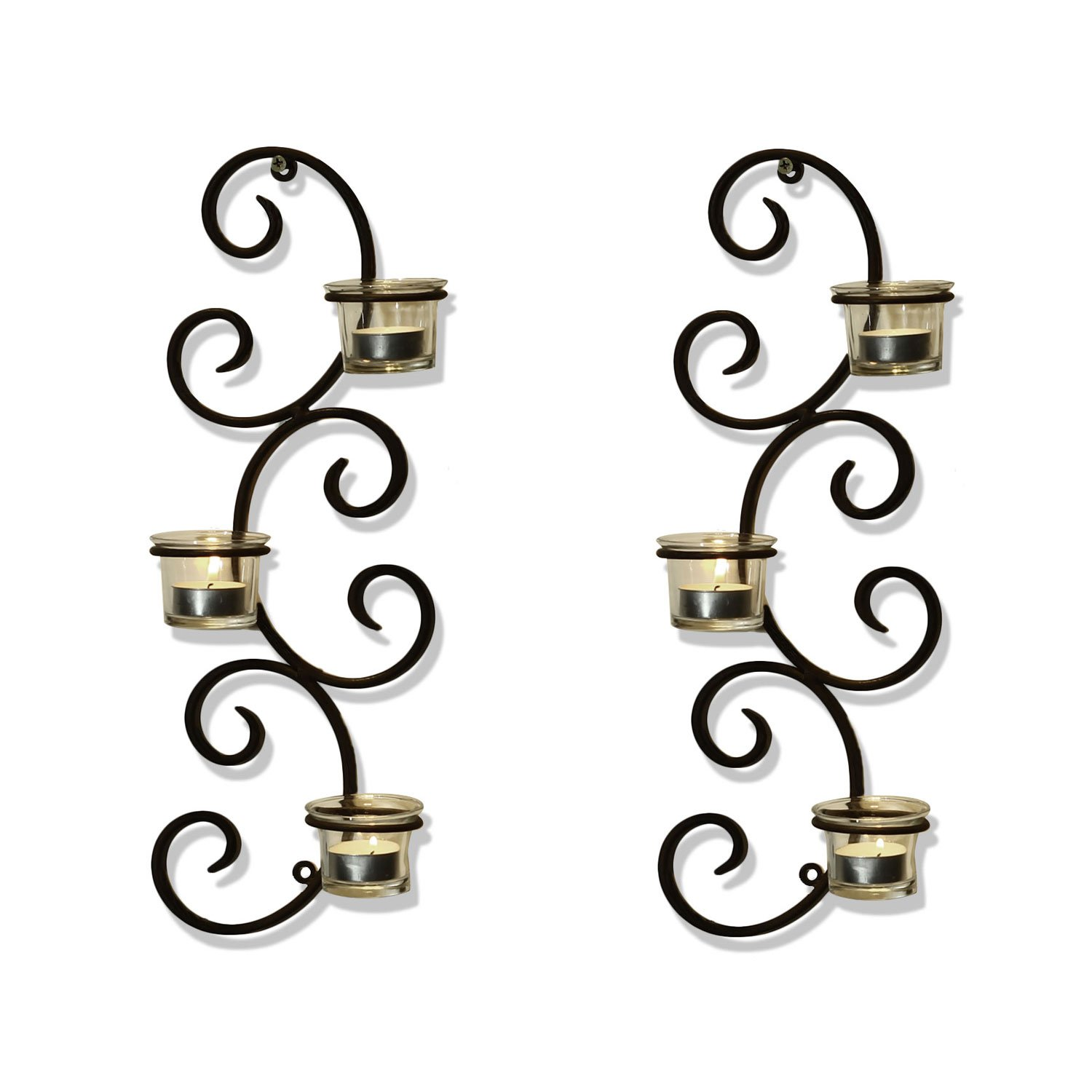 Adeco HD0020 Brown Iron Vertical Wall Hanging Accents Candle Holder Sconce, Auspicious Clouds Scrolls, Holds 3 Pillar Candle Each (Set of Two) Black with Antique Finish
