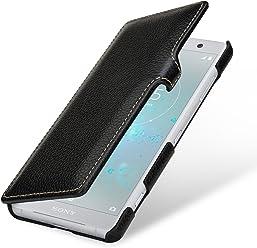 StilGut Book Type Case, Custodia per Sony Xperia XZ2 Compact a Libro Booklet in Vera Pelle, Nero con Clip