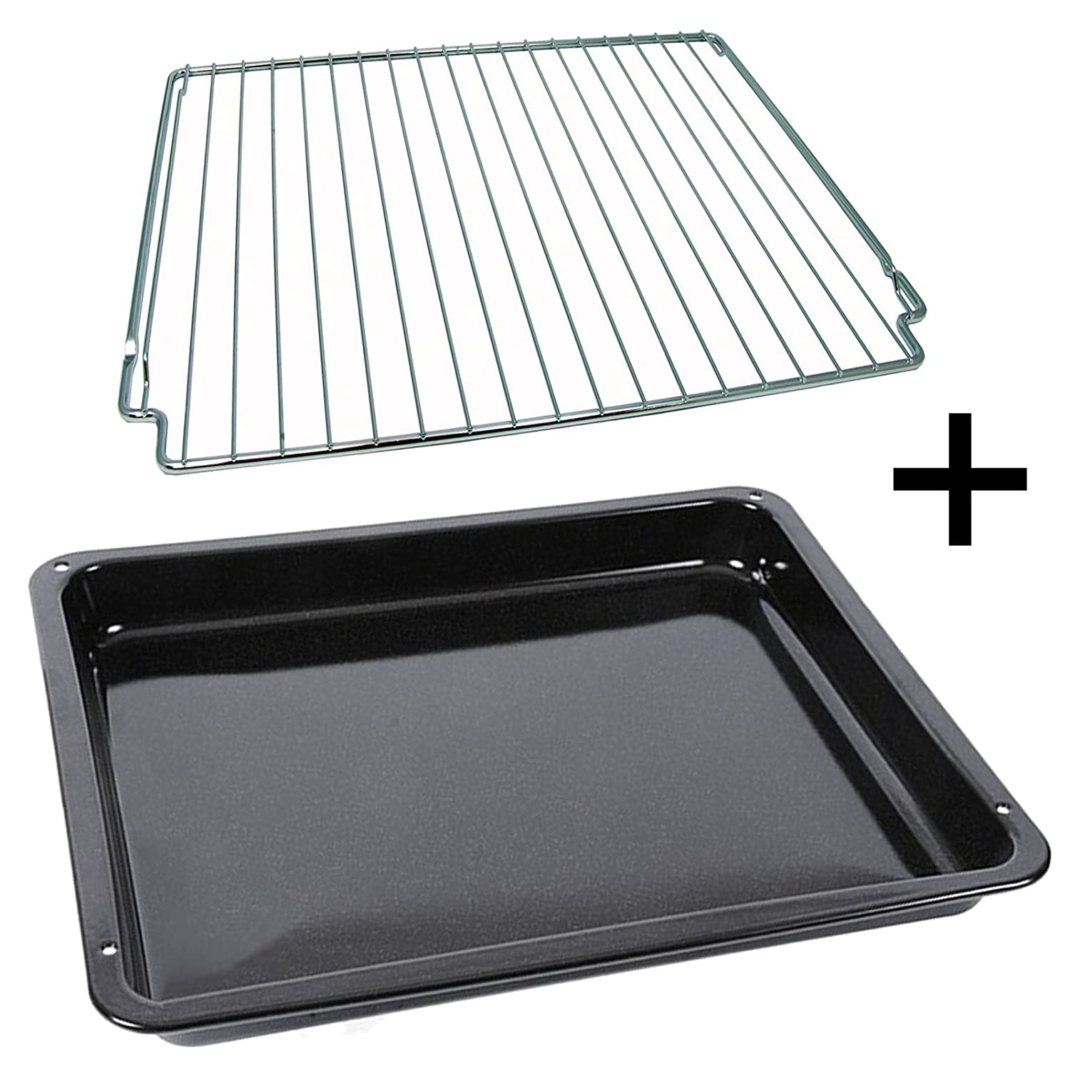 AEG Oven Cooker Enamel Drip Tray Pan + Grid Rack Stand (Genuine Part)