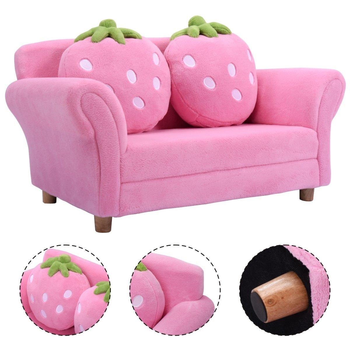 Pink Wood frame+coral fleece+sponge Kid Armchair With Ebook