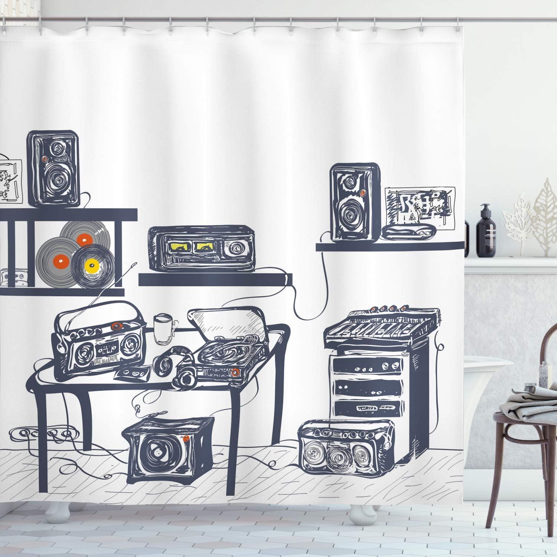 Moderna cortina de ducha por Ambesonne, estudio de grabación con ...