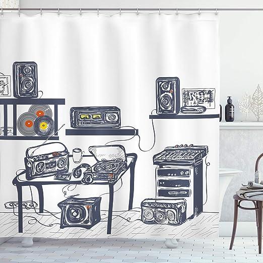 Moderna cortina de ducha por Ambesonne, estudio de grabación ...