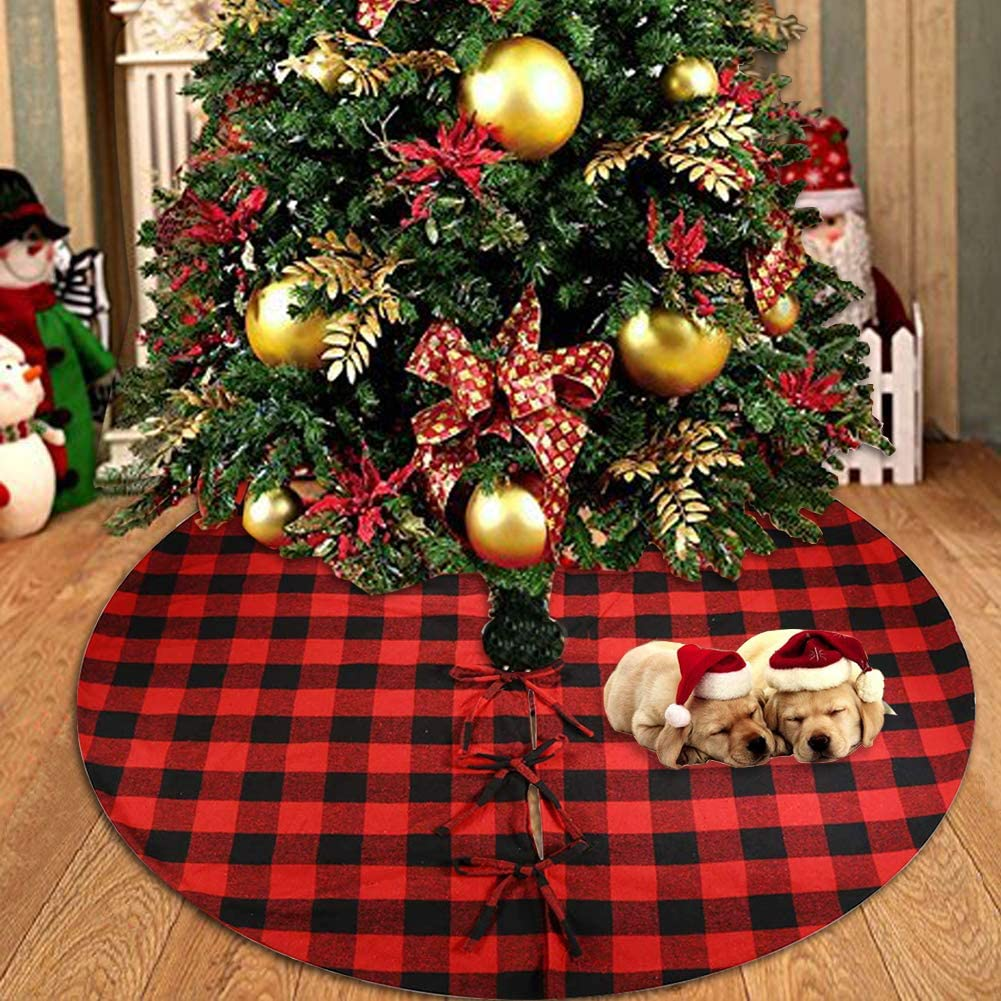 Fowecelt 48 Inch Buffalo Plaid Christmas Tree Skirt Red and Black Cotton Xmas Tree Skirt for Christmas Party Holiday Decorations