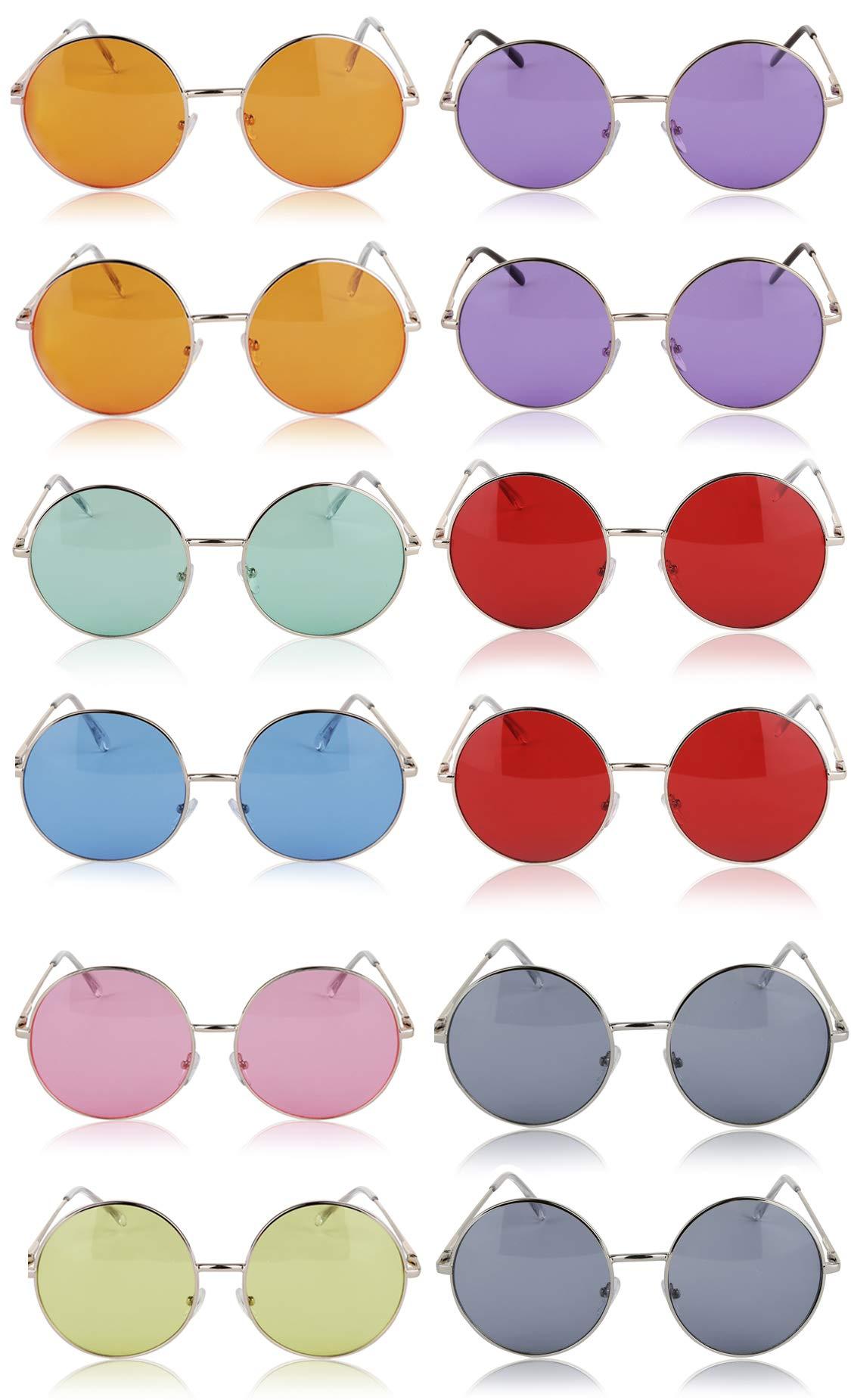 Sunny Pro Round Sunglasses Retro Circle Tinted Lens Glasses UV400 Protection (12 pack)