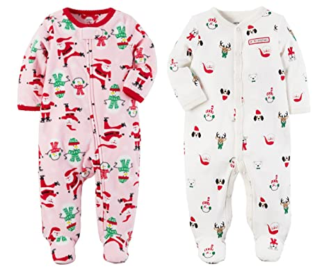 235297c6c5cf Carters Girls or Boys Babys First Christmas 2 Piece Santa Sleep and ...