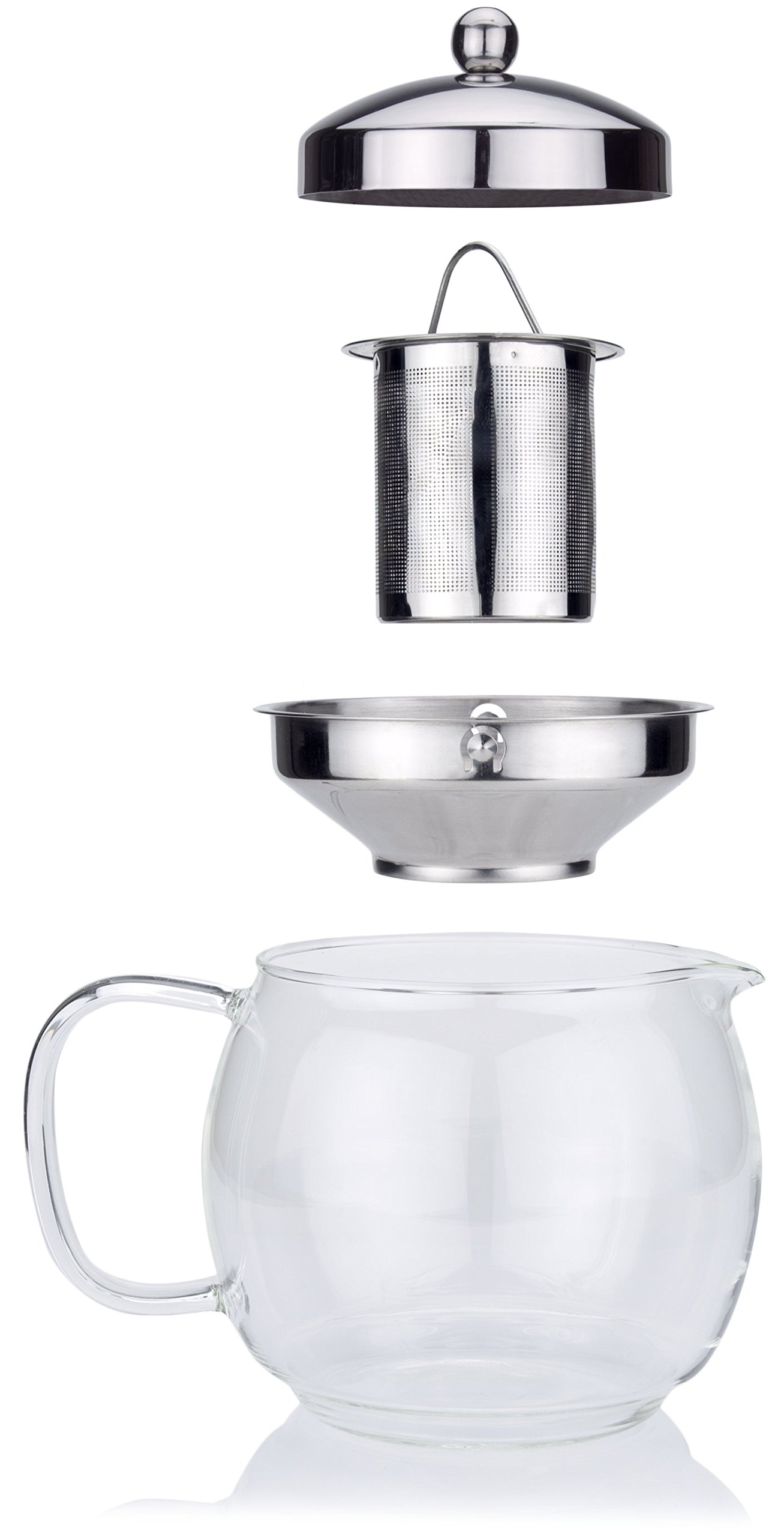 Glass Teapot with Infuser for Blooming and Loose Leaf Tea Pot by Cozyna | Holds 5-6 Cups | Includes Recipe Book by Cozyna (Image #3)