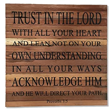 Amazon.com: Reclaimed Wood Art Wall Decor Trust In The Lord With All ...