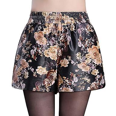1efed3e8fb DISSA F563 Shorts Pantalons Court Taille Haute Mince Cuir PU Femme,Marron,M,