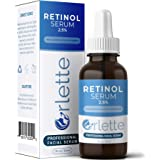 Orlette Retinol Serum 2.5% - Professional Grade Skincare - Vitamin A and E, Hyaluronic Acid - Anti-Aging, Hydrating Skin and