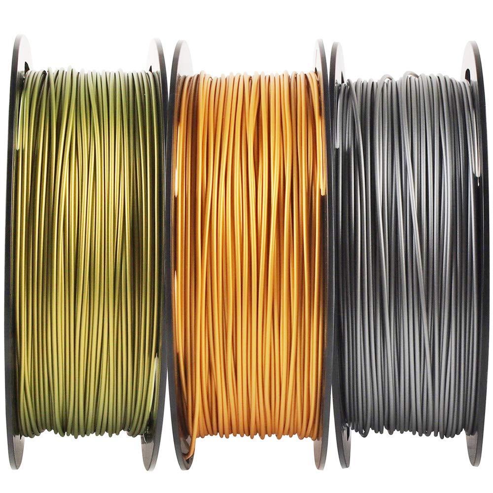 Paquete de filamentos de impresora 3D de color dorado, plateado y ...