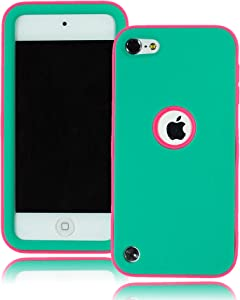 Bastex Heavy Duty Hybrid Case for Apple Ipod Touch 5 - Hot Pink Soft Silicone Cover Surrounded by Hard Teal Shell [Compatible with iPod Touch 6]