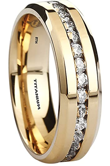 Titanium Ring - 6mm Wide Classic Gold Tone Unisex Wedding Engagement Band Ring UPdLleeB