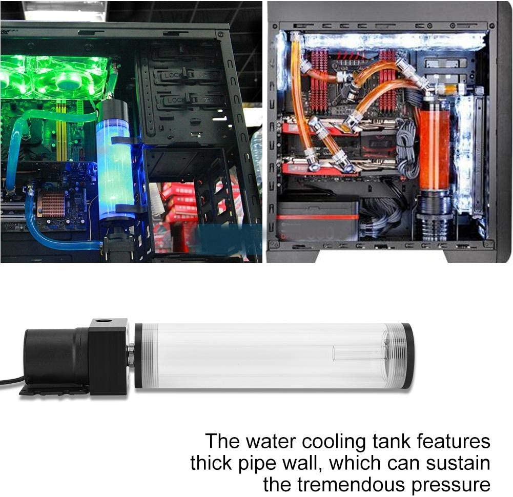 Yencoly Water Cooling Pump 210mm Acrylic Computer DIY Water Cooling Tank Cylinder Reservoir 19W Pump G1//4 Cooling for pc Water Cooling Water Tank