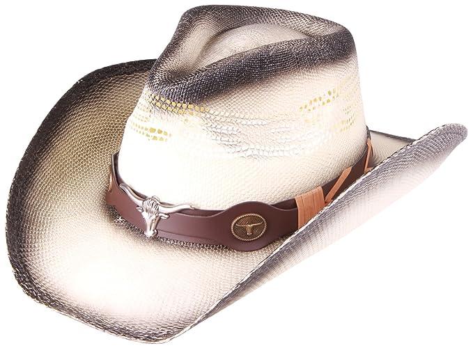 2ae33db2bb5c5 Enimay Western Outback Cowboy Hat Men s Women s Style Straw Felt (Beige Brown  Bullhead)