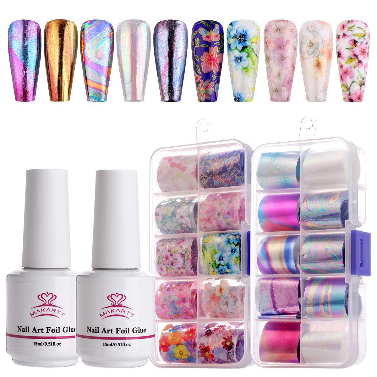 Amazon Com Makartt Nail Art Foil Glue Gel With Stickers Set Rose Flowers Metal Nail Transfer Gel Tips Manicure Art Diy 15ml 20pcs 2 5cm100cm Stickers Uv Led Lamp Required Arts Crafts Sewing
