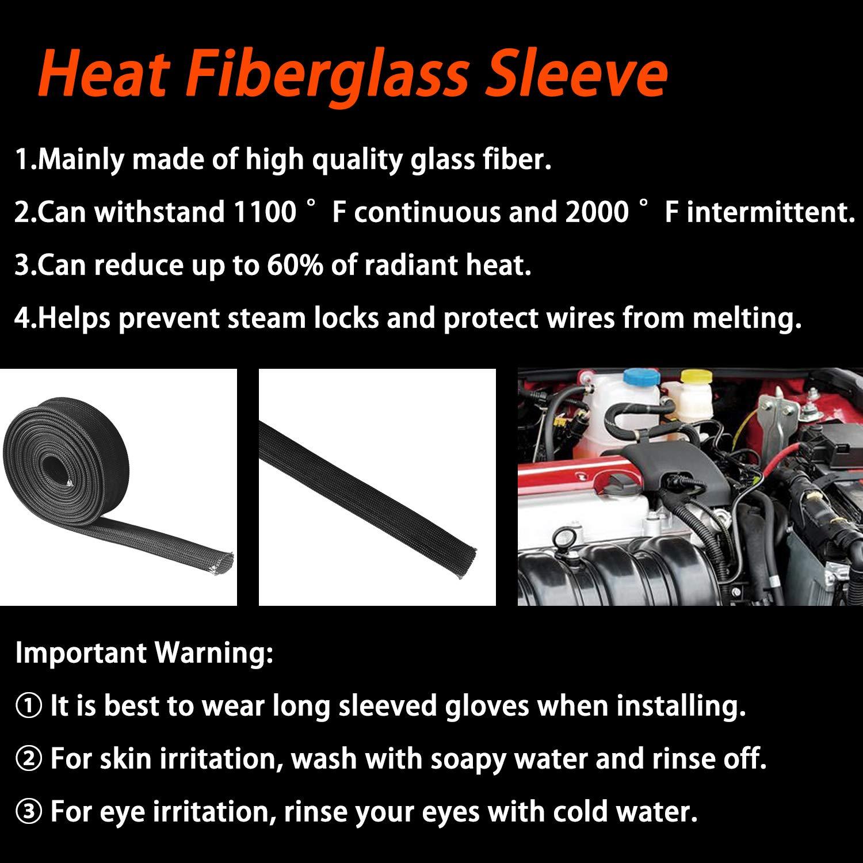 3//5 Titanium Fiberglass Heat Sleeve Wrap Wire Shield Fiberglass Adjustable High Temp Colour 10FT-16MM for Car Wire Loom Protection