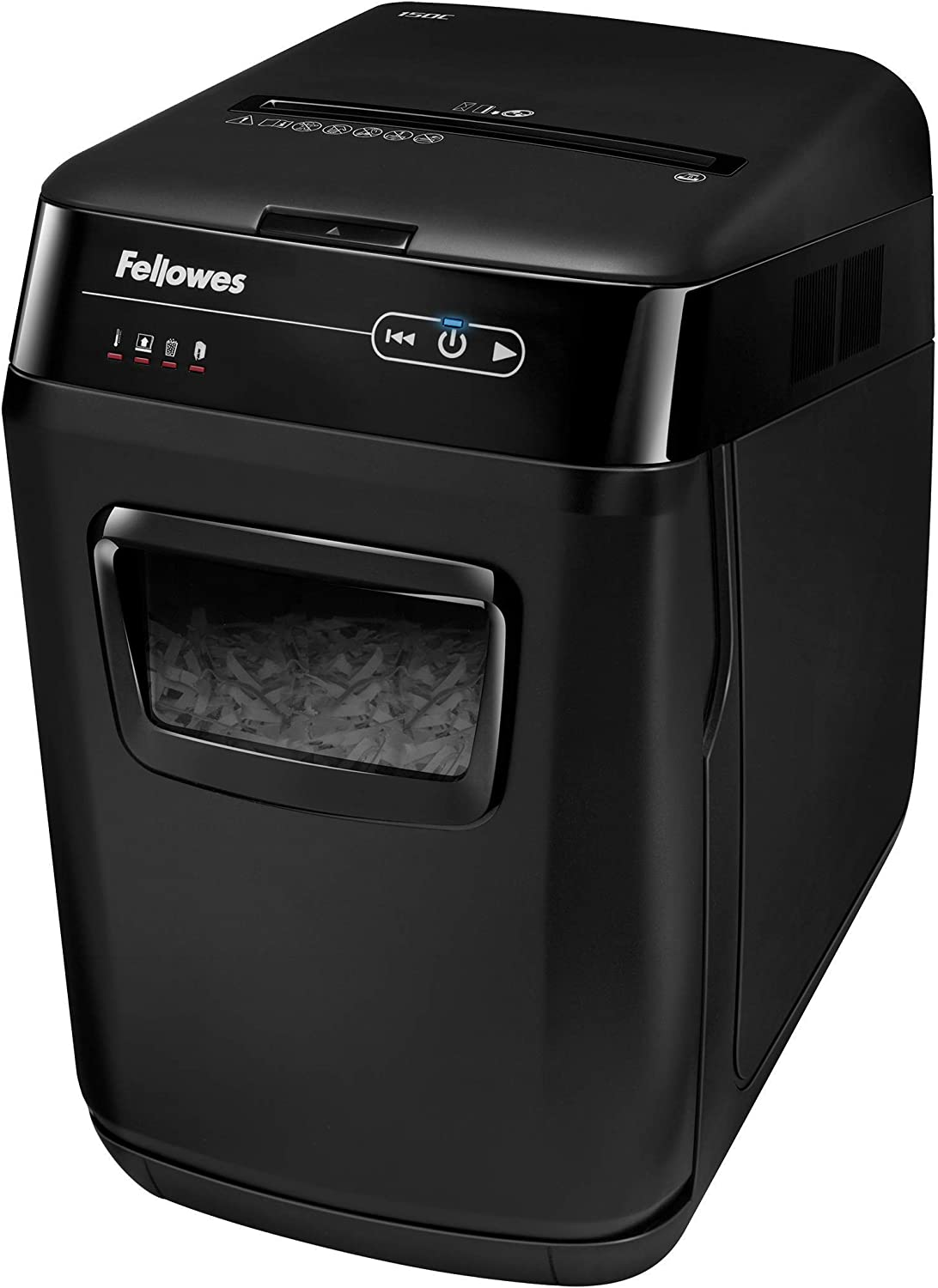Fellowes AutoMax 150C 150-Sheet Cross-Cut Auto Feed Shredder with Jam Protection for Hands-Free Shredding (4680001)