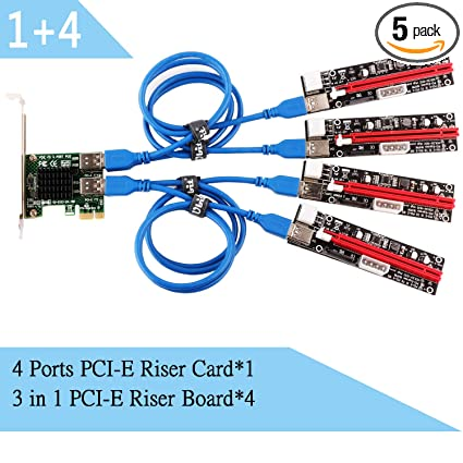 Ubit PCI-E Riser,with LED Notice Function,Express Cable 1X to 16X Graphics  Extension,Ethereum、Bitcoin、Litecoin Mining Rig, Powered Riser Adapter