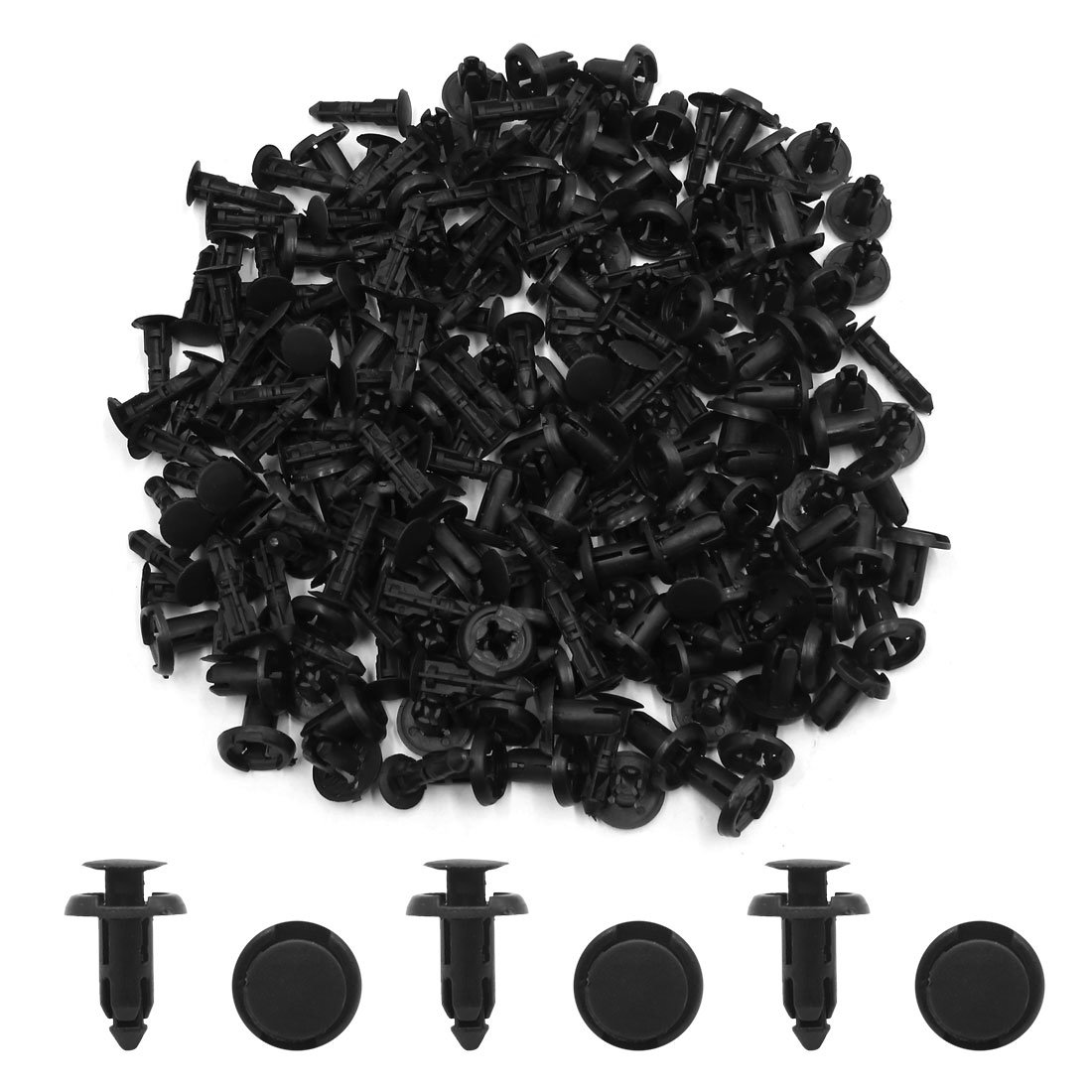 sourcing map 100Pcs Rivet Fixation Noir Pare-Chocs Voiture Corolla Rav4 Prado