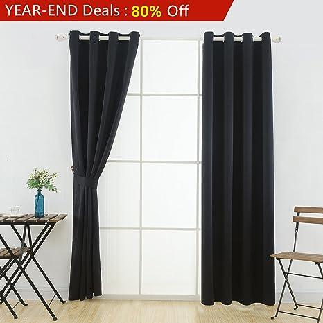 YOJA Window Blackout Curtains Top Grommet Drapes for Master Bedroom  Black,52\