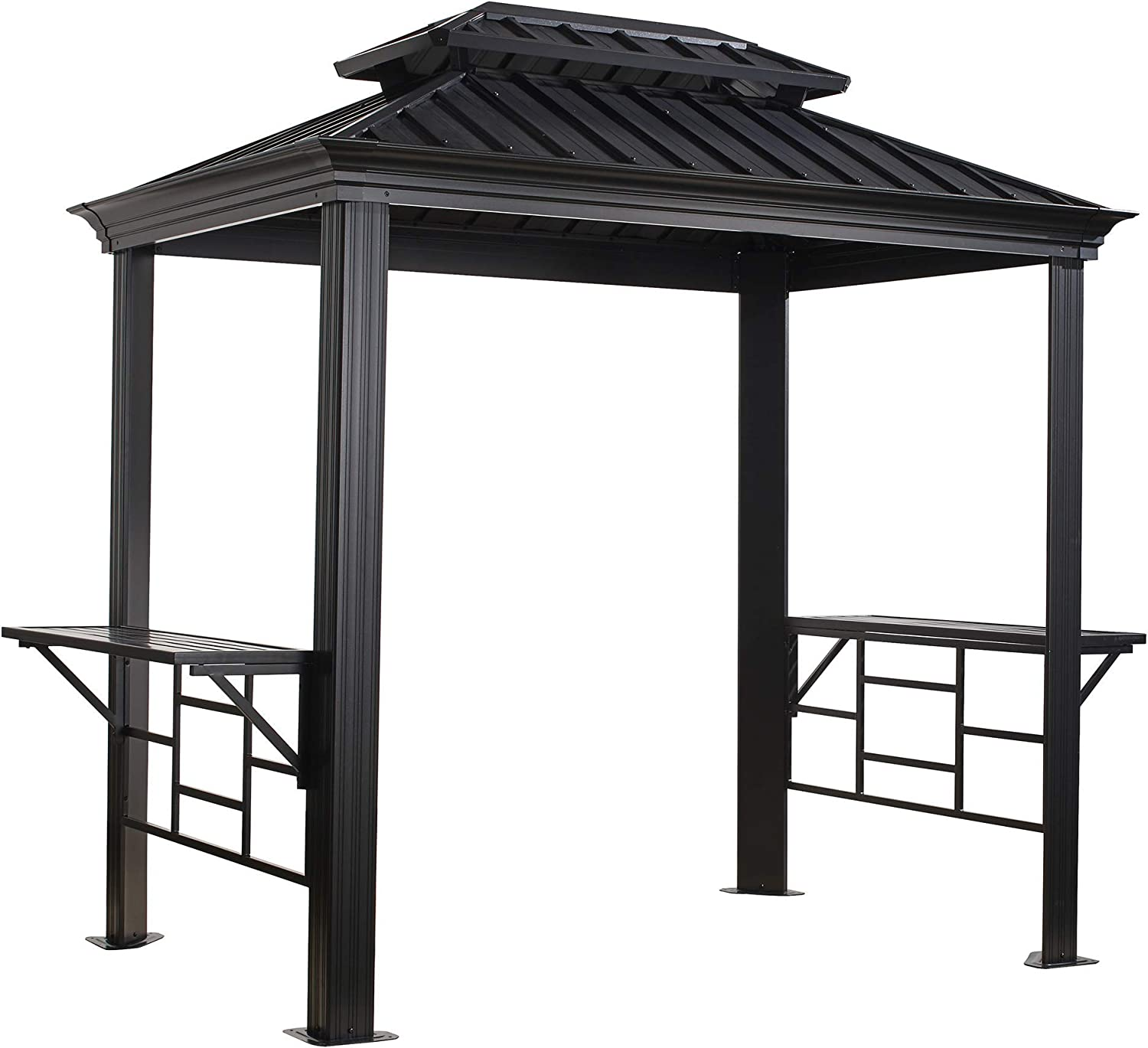 Amazon Com Sojag Outdoor 6 X 8 Messina Grill Steel Hardtop Gazebo With Shelving Dark Grey Garden Outdoor