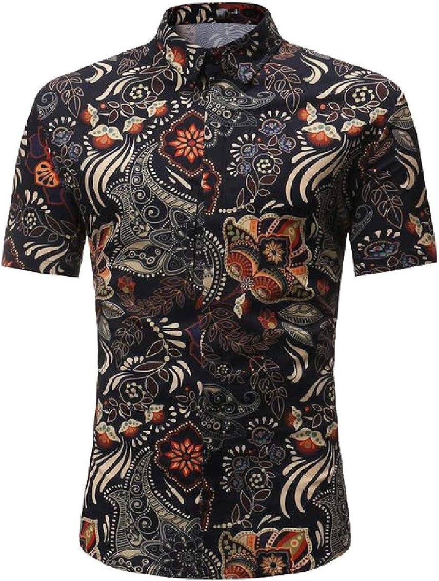Sweatwater Mens Short Sleeve Print Button Down Casual Summer Holidy Shirt
