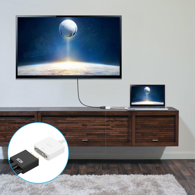 vergoldet Stecker DP Konverter Male zu Female ICZI DisplayPort 1080P Schwarz auf DVI Adapter