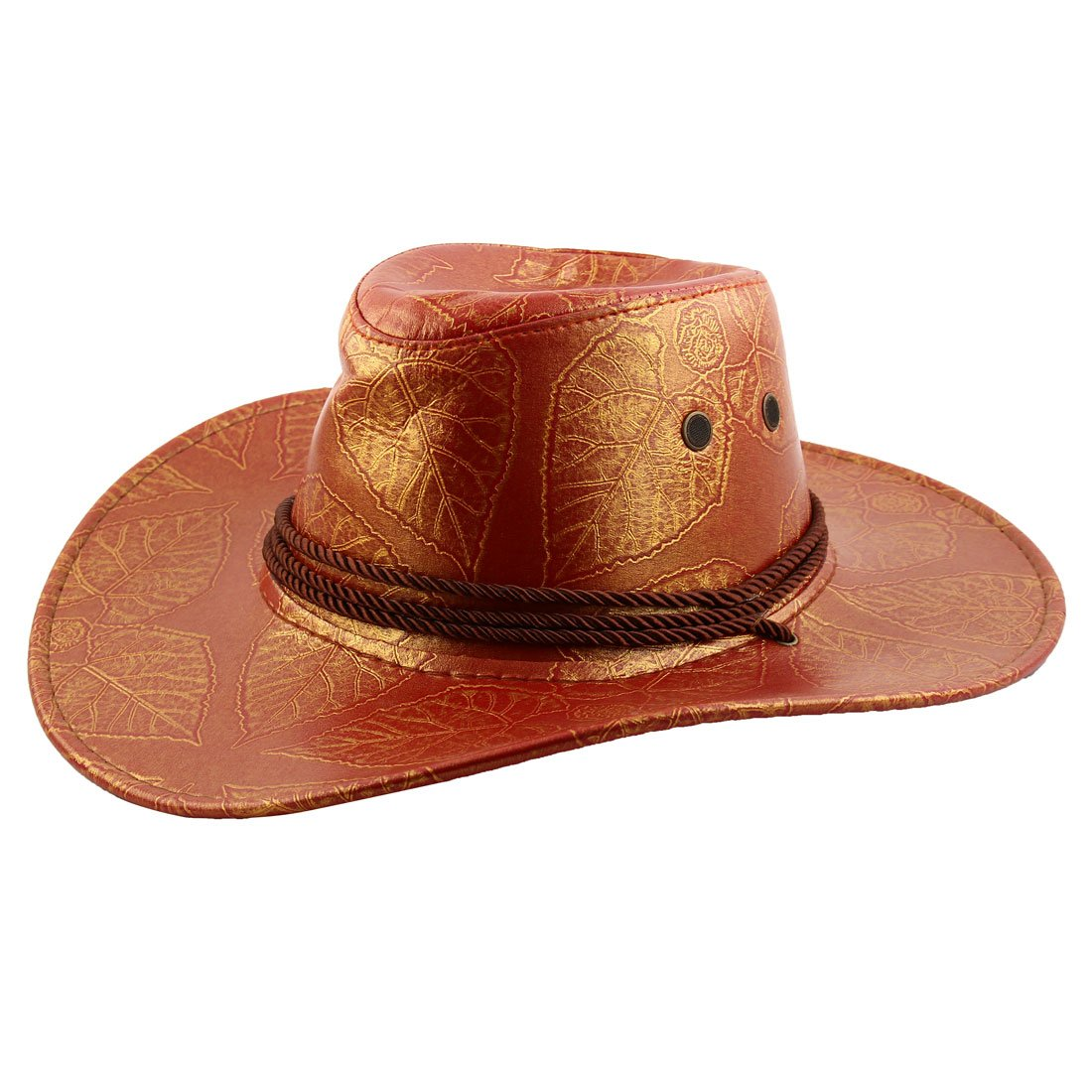 sourcingmap/® In finta pelle regolabile tracolla larga tesa stile Western cappello da cowboy Red Hat