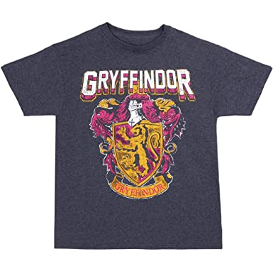 09d1eab1342 Harry Potter Gryffindor Crest Youth T-Shirt - Heather Navy (Youth Small)