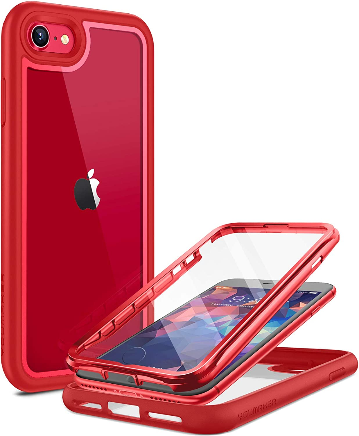YOUMAKER Aegis Designed for iPhone SE 2020 Case/iPhone 7 Case/iPhone 8 Case, Full-Body with Built-in Screen Protector Rugged Clear Case for iPhone SE 2020/7/8 4.7 Inch-Red