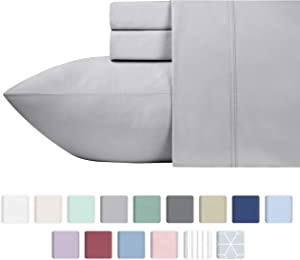 600 Thread Count Best Bed Sheets 100% Cotton Sheets Set - Light Grey Long staple Cotton Queen Sheet For Bed, Fits Mattress Upto 18'' Deep Pocket, Soft & Sateen Weave 4 Piece Sheets and Pillowcases Set