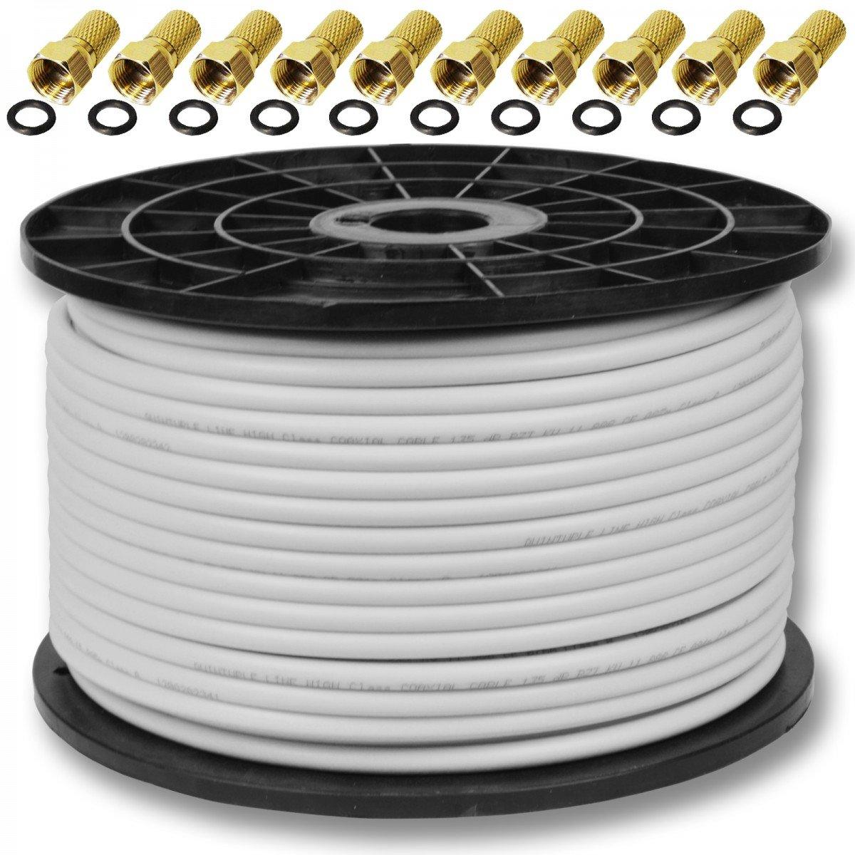 100m 135dB Sat Koaxialkabel Koax Kabel FullHD UltraHD: Amazon.de ...