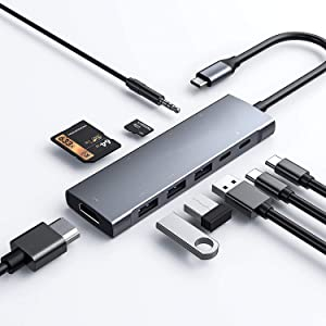 USB C Hub for iPad Pro 11/12.9 2021 2020 2018,iPad Air 4, 9in1 USB-C Hub with 4K HDMI, 3xUSB3.0, 3.5mm Audio Jack,SD/Micro SD Card Reader, 60W USB C Charging,USB-C 3.0 Data,Work with MacBook
