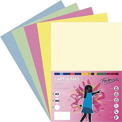 Pack 50 Cartulinas Colores Suaves Tamaño A3 180g: Amazon.es ...