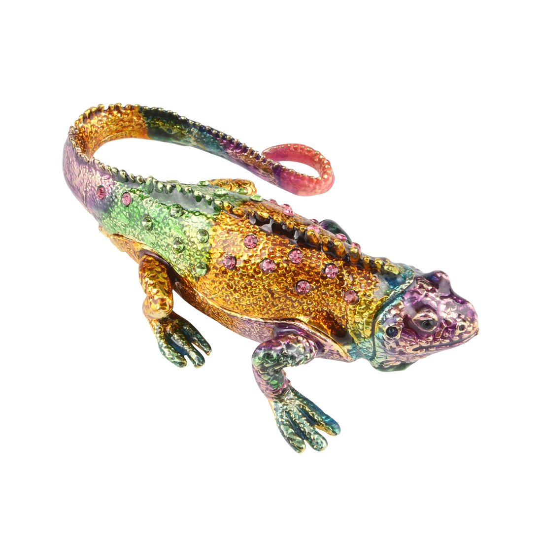 Hophen Enameled Crystal Colorful Lizard Trinket Box Chameleon Collectible Figurine 4'' (colorful)