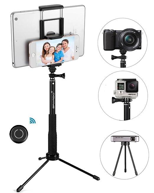 2 opinioni per Stick Selfie, GRANDO Clip 2 in 1 Monopiede Nero Estensibile Con Telecomando