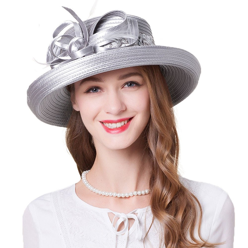Kentucky Derby Hats Summer Flower Hat Women Elegant Wide Brim Casual Church Caps