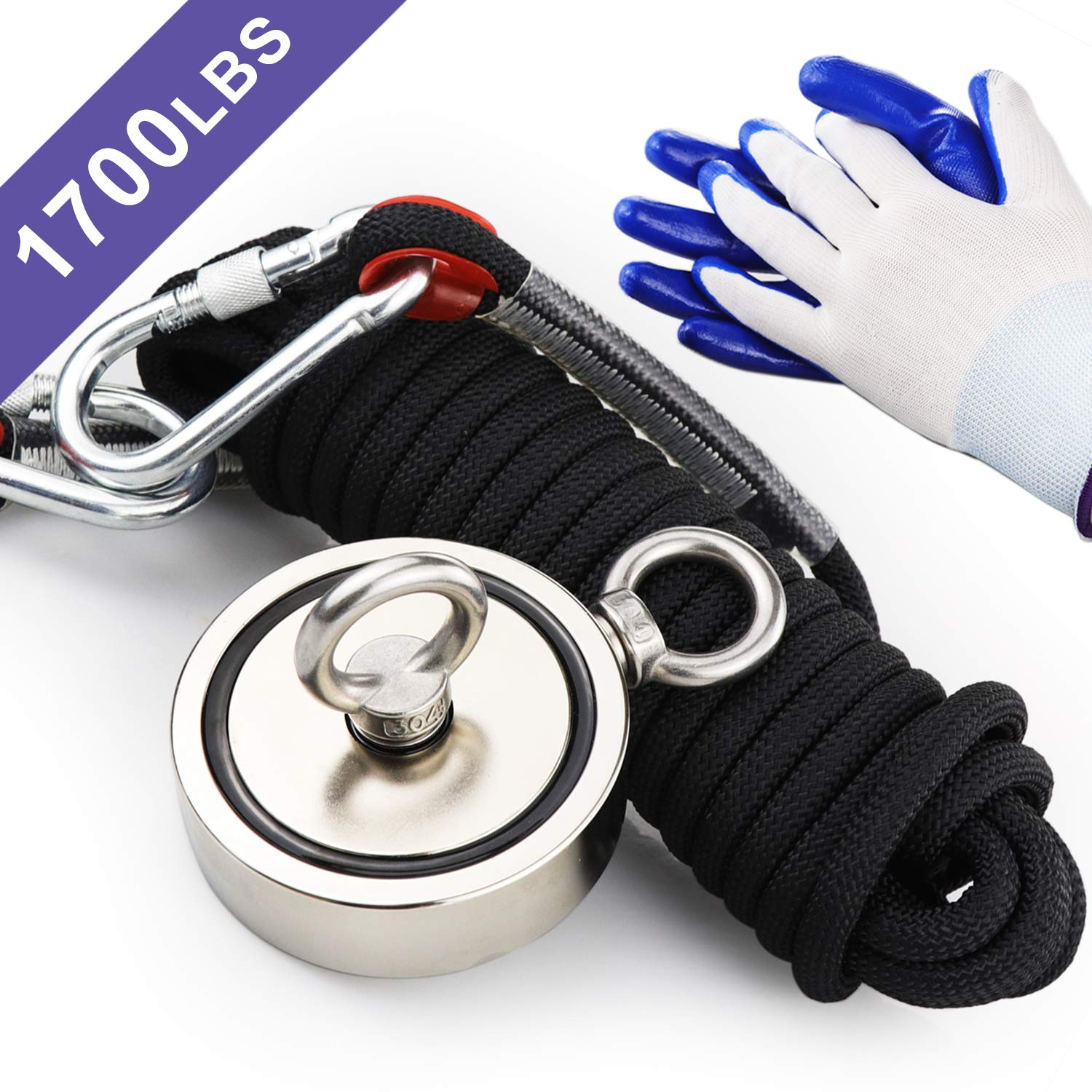 Double Sided Neodymium Fishing Magnet,Combined 1700 lbs(772KG) Pulling Force Rare Earth Magnets with high Strength Polyester Rope and Protective Gloves